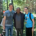 Yuval Ron with jazz drummer Billy Hart and fan, Latvia 2008